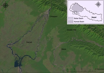 Figure 1: LANDSAT Imagery indicating the relative locations of the Karnali and Babai rivers as they drain from the hills, along with both bifurcation point from Chisapani and re-joining of the Karnali River in the Indian floodplains
