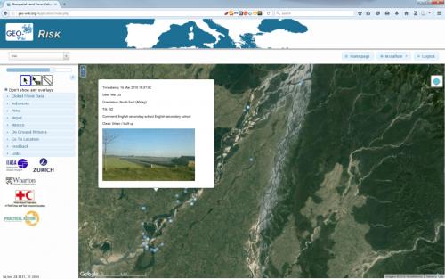 The Risk Geo-Wiki showing geo-tagged photographs overlaid upon satellite imagery across the Karnali basin, Nepal. © IIASA