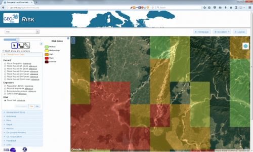 The Risk Geo-Wiki showing modelled global flood risk data overlaid at community level. While this data is suitable at the national and regional level, it is too coarse for informing community level decisions. © IIASA