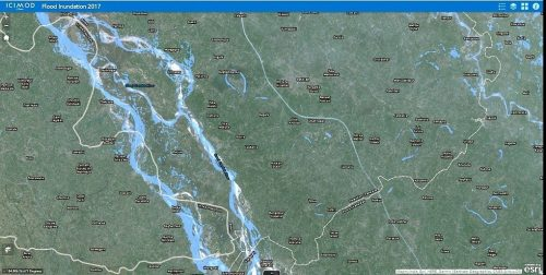 Based on the Flood Inundation Application, large parts of the western part of Paschim Champaran have faced flooding. In the image, light blue portions of the map show inundated areas. Source: Web Application, ICIMOD, 2017