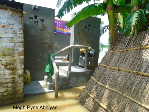 Picture of the eco-san structure, with its toilet accessible above the water at Chatti Devi's house. Image by: Kumod Kumar Das/Megh Pyne Abhiyan