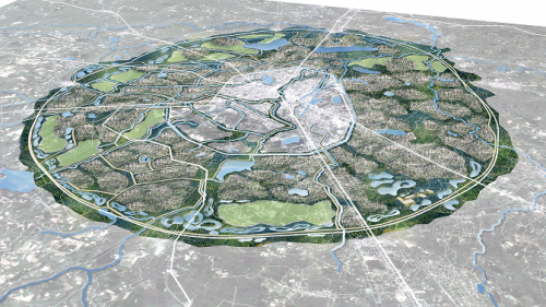 A perspective showing the proposed Green Infrastructure Master Plan combining natural and built infrastructure systems for the Udon Thani area.