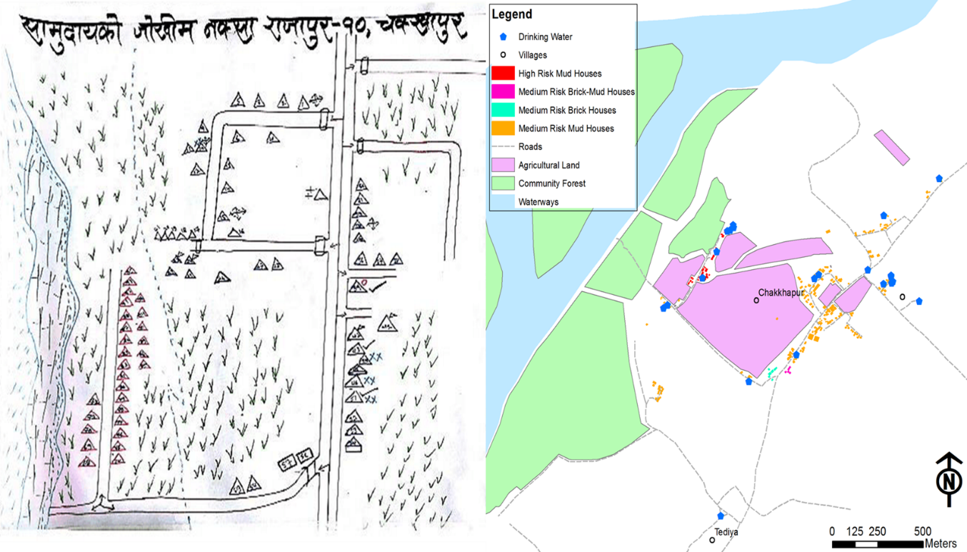 Comparison of hazard map of Chakkhapur community before and after digital mapping approach