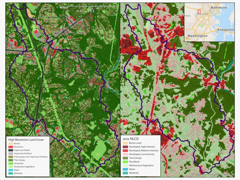 A map of land use around Ellicott City, Maryland, built with the help of artificial intelligence (left) offers far more detail than its predecessor (right). Credit: Chesapeake Conservancy