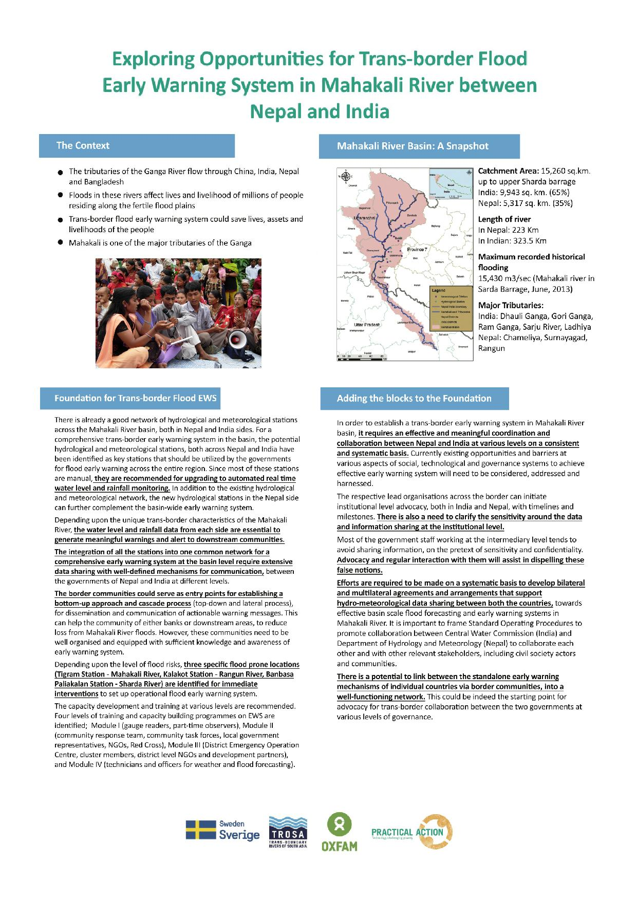 poster of potential transboundary flood early warning system between nepal and india on mahakali river basin