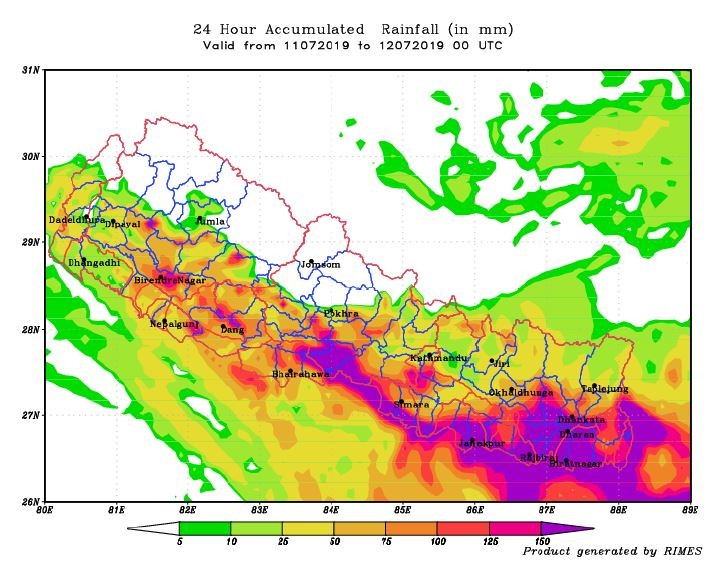 RIMES Rainfall Forecast for 11 July (Forecasted on 10 July, 2019)