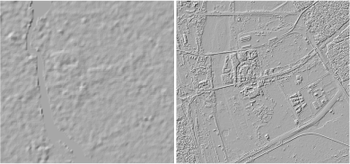 A 30m SRTM-based DEM of the Yamuna river compared to a Google-generated 1m DEM of the same area.