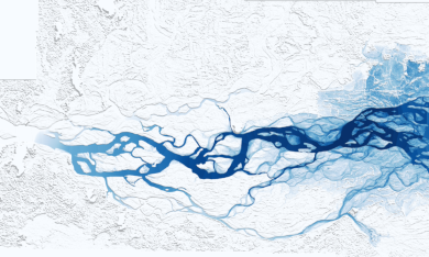A snapshot of a TPU-based simulation of flooding in Goalpara, mid-event.