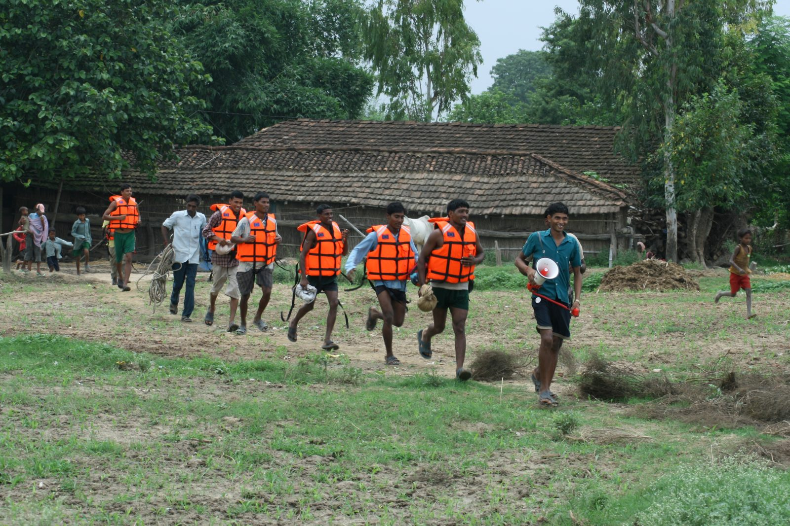 Mock emergency drills, like this one in Nepal, are one of the ways we help communities become more resilient to floods