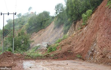 Landslides blocking a road in hilly area of Nepal.
