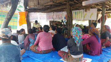 Sharing FRMC results with community members in Nepal.