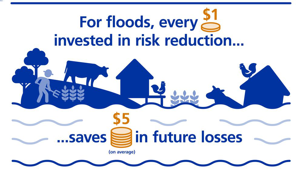 For floods every $1 invested in risk reduction saves on average $5 in future losses.