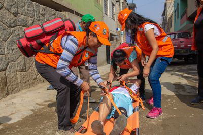 Deborah along with other members of the first aid brigade during emergency response exercise in 2019.