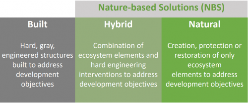 Table explaining nature-based solutions and other structural approaches to disaster risk reduction