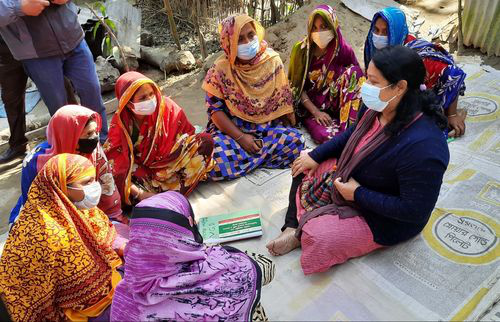 Zakia meeting with women in one of the communities where Concern works. The women shared their experience of saving generation for enhanced livelihoods.