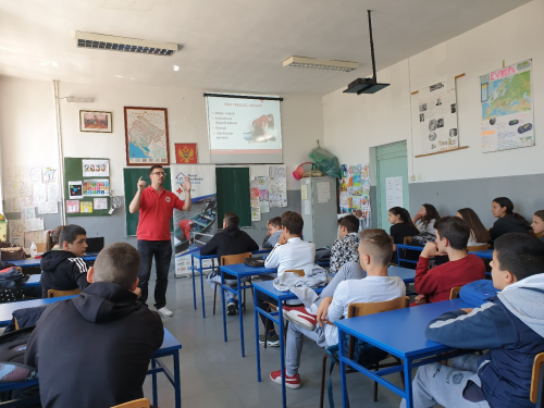 School-based DRR trainings of the Red Cross before Covid-19. Credits: Red Cross of Montenegro