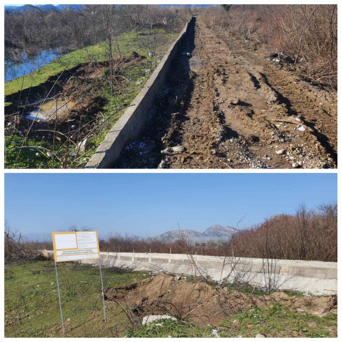 The flood protection infrastructure before and during the enhancement work. Credit: Red Cross of Montenegro