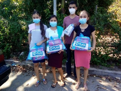Alma, her sisters and her brother received menstrual hygiene kits after completing the training. Photo by Plan International.